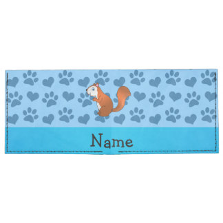 Personalized name squirrel pastel blue paws billfold wallet