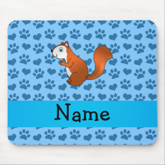 Personalized name squirrel pastel blue paws mouse pad