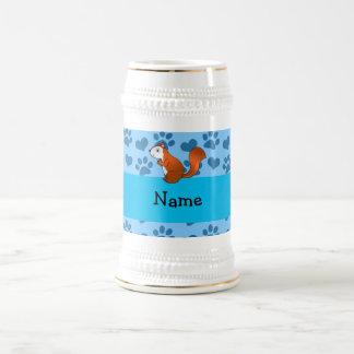 Personalized name squirrel pastel blue paws mug