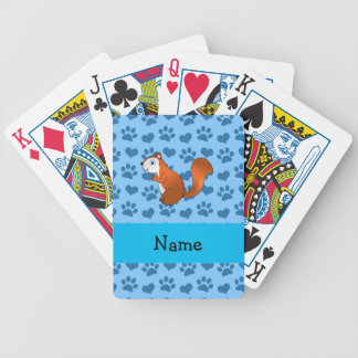 Personalized name squirrel pastel blue paws deck of cards