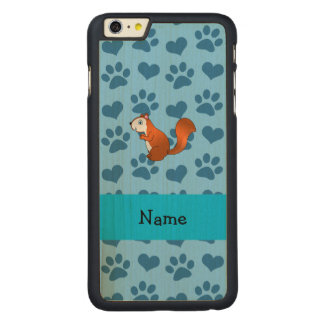 Personalized name squirrel pastel blue paws carved® maple iPhone 6 plus slim case