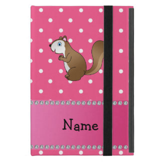 Personalized name squirrel pink polka dots pattern case for iPad mini