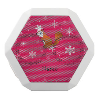 Personalized name squirrel pink snowflakes white boombot rex bluetooth speaker