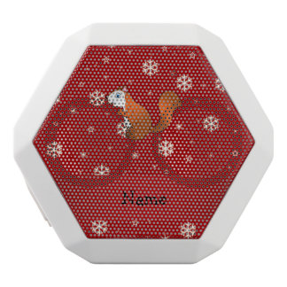 Personalized name squirrel red snowflakes white boombot rex bluetooth speaker
