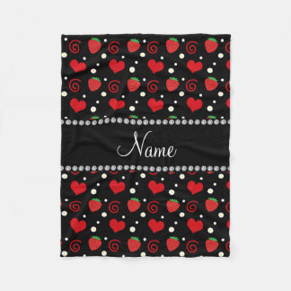 Personalized name strawberry flowers swirls fleece blanket