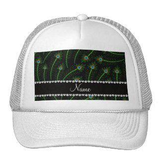 Personalized name swirly black peacock feathers trucker hat