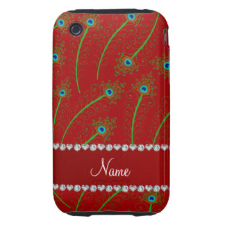 Personalized name swirly red peacock feathers iPhone 3 tough cases