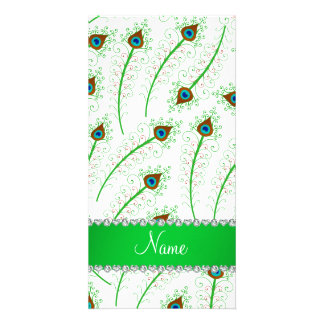 Personalized name swirly white peacock feathers customised photo card