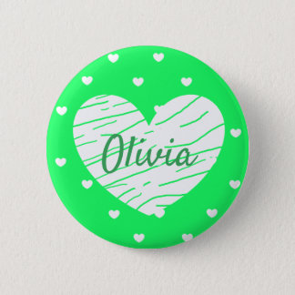 Personalized Name Tag Buttons Lime Green Hearts