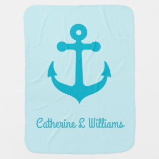 Personalized name Teal anchor on blue Pramblankets