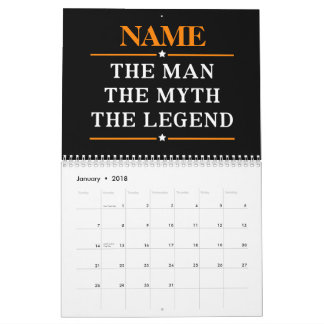 Personalized Name The Man The Myth The Legend Wall Calendar