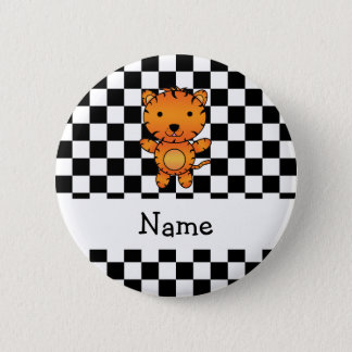 Personalized name tiger black and white checkers 6 cm round badge