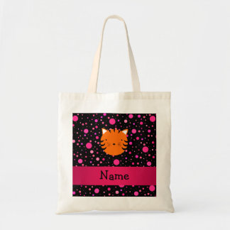 Personalized name tiger face black pink polka dots