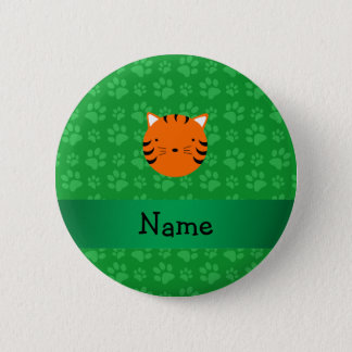 Personalized name tiger face green paw pattern 6 cm round badge