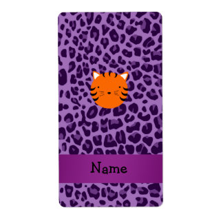 Personalized name tiger face purple leopard print shipping label