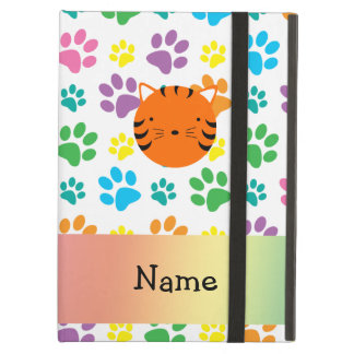 Personalized name tiger face rainbow paws iPad air covers