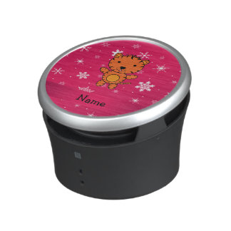 Personalized name tiger pink snowflakes speaker