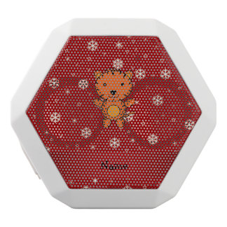 Personalized name tiger red snowflakes white boombot rex bluetooth speaker