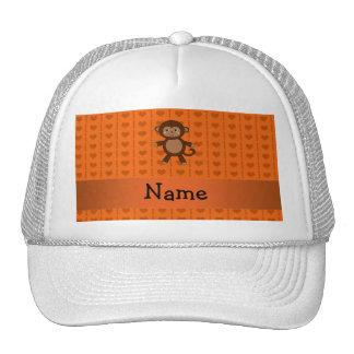 Personalized name toy monkey orange hearts cap