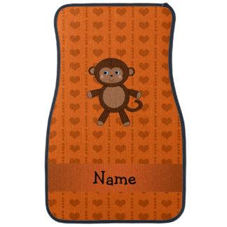 Personalized name toy monkey orange hearts car mat