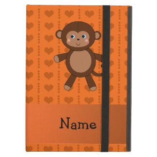 Personalized name toy monkey orange hearts iPad case