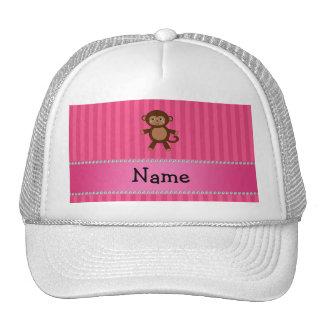 Personalized name toy monkey pink stripes cap