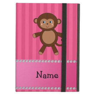 Personalized name toy monkey pink stripes iPad cover