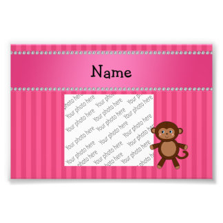 Personalized name toy monkey pink stripes photograph
