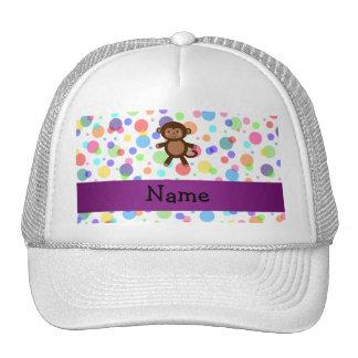 Personalized name toy monkey rainbow polka dots cap