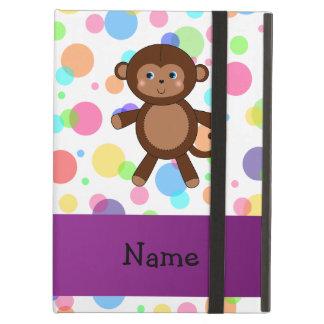 Personalized name toy monkey rainbow polka dots iPad folio cases