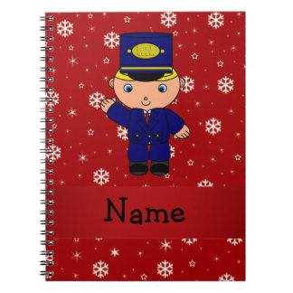 Personalized name train conductor red snowflakes notebooks