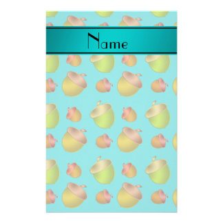 Personalized name turquoise acorns stationery