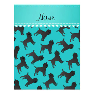 Personalized name turquoise affenpinscher dogs 21.5 cm x 28 cm flyer