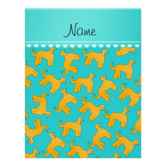 Personalized name turquoise afghan hound dogs 21.5 cm x 28 cm flyer