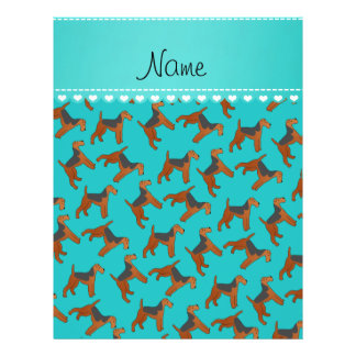 Personalized name turquoise airedale terriers dogs 21.5 cm x 28 cm flyer