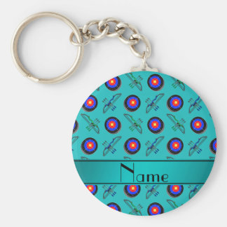 Personalized name turquoise archery key ring