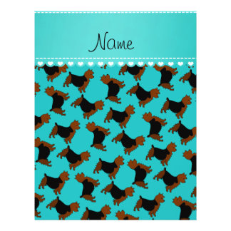 Personalized name turquoise australian terrier dog 21.5 cm x 28 cm flyer