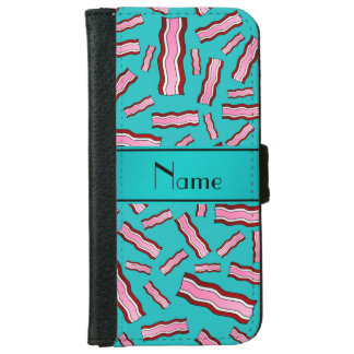 Personalized name turquoise bacon pattern iPhone 6 wallet case