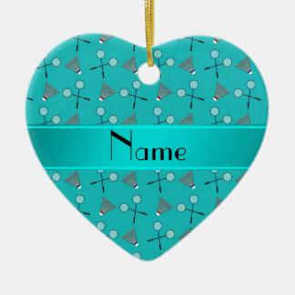 Personalized name turquoise badminton pattern ceramic heart decoration