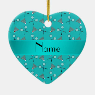 Personalized name turquoise badminton pattern christmas ornament