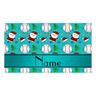 Personalized name turquoise baseball christmas business card