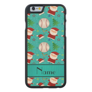 Personalized name turquoise baseball christmas carved® maple iPhone 6 case