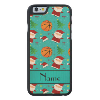 Personalized name turquoise basketball christmas carved® maple iPhone 6 slim case