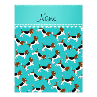 Personalized name turquoise basset hound dogs 21.5 cm x 28 cm flyer