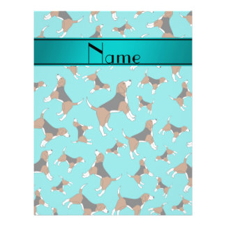 Personalized name turquoise beagle dog pattern 21.5 cm x 28 cm flyer