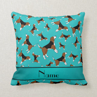 Personalized name turquoise beagle dog pattern cushion