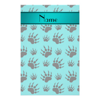 Personalized name turquoise bear paw prints personalized stationery
