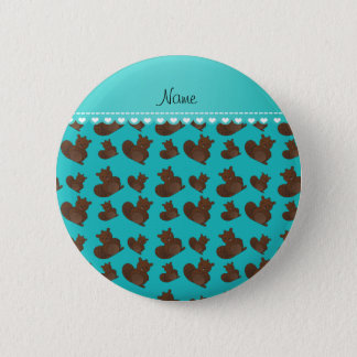 Personalized name turquoise beaver pattern 6 cm round badge