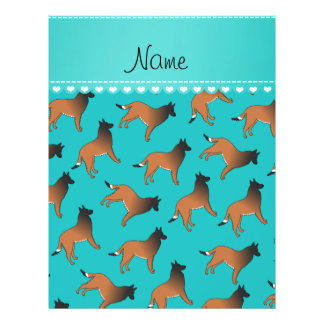 Personalized name turquoise belgian tervuren dogs 21.5 cm x 28 cm flyer