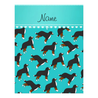 Personalized name turquoise Bernese Mountain dogs 21.5 Cm X 28 Cm Flyer